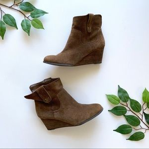 Lucky Brand Suede Booties Brown Wedge 6.5/7